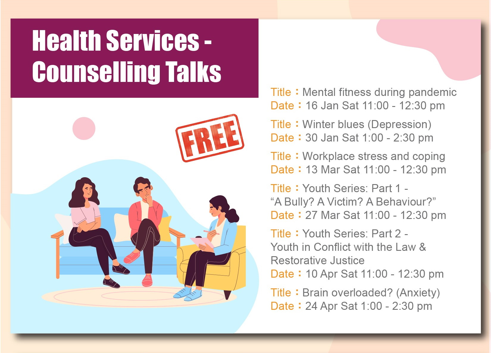 health services counselling talks for January to April 2021
