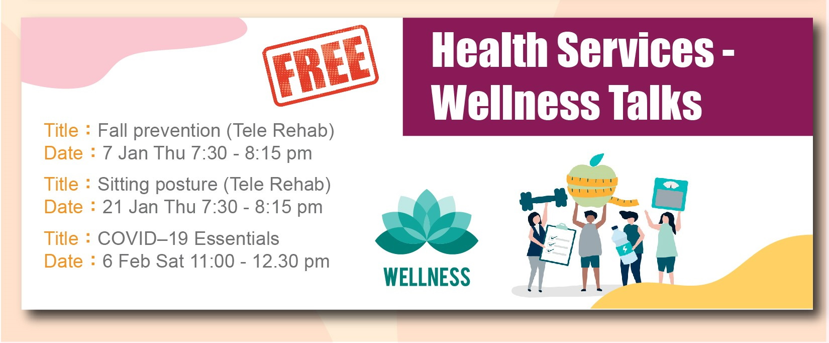 health services Wellness talks for January to April 2021