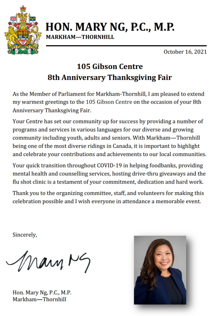 Letter of support from Hon. Mary Ng, PC MP - 105 Gibson Centre 8th Anniversary Thanksgiving Fair